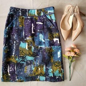 Anthropologie Tabitha Liquid Acres Pencil Skirt
